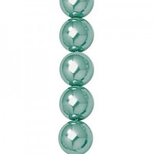 8mm Indian Sapphire Smooth Round Glass Pearls 7 Inch Strand (Apx 25 Beads)