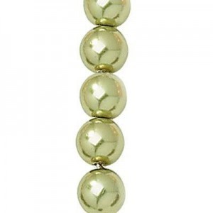 8mm Olivine Smooth Round Glass Pearls 7 Inch Strand (Apx 25 Beads)