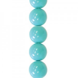 12mm Turquoise Smooth Round Glass Pearls 7 Inch Strand (Apx 15 Beads)