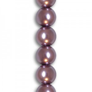 10mm Tanzanite Smooth Round Glass Pearls 7 Inch Strand (Apx 19 Beads)