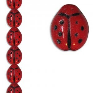 Ladybug Bead 9x7mm Czech Glass Opaque Red/Black - 7 Inch Strand (Apx 21 Beads)