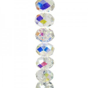 4x6mm Crystal AB Puffy Rondelles Celebrity Crystals - 7 Inch Strand (Apx 44 Beads)