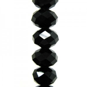 7x10mm Jet Puffy Rondelles Celebrity Crystals - 7 Inch Strand (Apx 24 Beads)