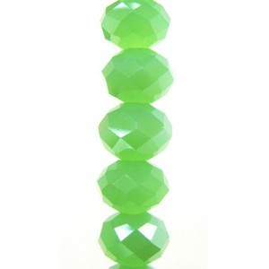 7x10mm Jade Opal Puffy Rondelles Celebrity Crystals - 7 Inch Strand (Apx 24 Beads)
