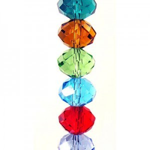 10x14mm Lollipop Mix Puffy Rondelles Celebrity Crystals - 7 Inch Strand (Apx 18 Beads)