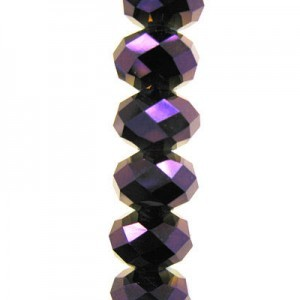 4x6mm Purple Iris Puffy Rondelles Celebrity Crystals - 7 Inch Strand (Apx 44 Beads)