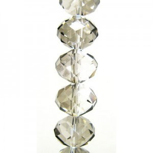 7x10mm Platinum Puffy Rondelles Celebrity Crystals - 7 Inch Strand (Apx 24 Beads)