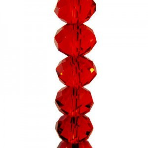 7x10mm Siam Puffy Rondelles Celebrity Crystals - 7 Inch Strand (Apx 24 Beads)