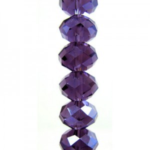 7x10mm Tanzanite Puffy Rondelles Celebrity Crystals - 7 Inch Strand (Apx 24 Beads)