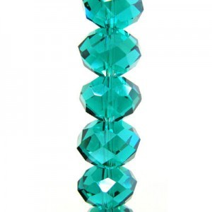 7x10mm Teal Puffy Rondelles Celebrity Crystals - 7 Inch Strand (Apx 24 Beads)