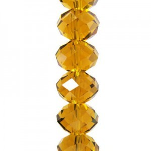 4x6mm Topaz Puffy Rondelles Celebrity Crystals - 7 Inch Strand (Apx 44 Beads)