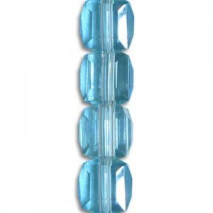 6mm Aqua Cube Celebrity Crystals - 7 Inch Strand (Apx 30 Beads)