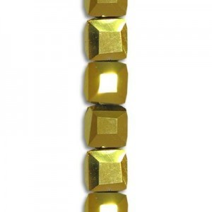 4mm Aurum 2x Cube Celebrity Crystals - 7 Inch Strand (Apx 44 Beads)
