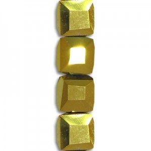6mm Aurum 2x Cube Celebrity Crystals - 7 Inch Strand (Apx 30 Beads)