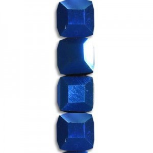 6mm Blue Iris Cube Celebrity Crystals - 7 Inch Strand (Apx 30 Beads)