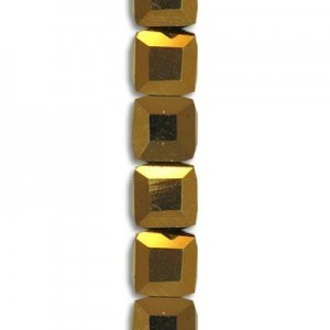 4mm Bronze Cube Celebrity Crystals - 7 Inch Strand (Apx 44 Beads)