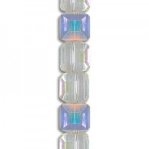 4mm Crystal AB Cube Celebrity Crystals - 7 Inch Strand (Apx 44 Beads)