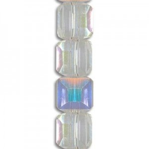 6mm Crystal AB Cube Celebrity Crystals - 7 Inch Strand (Apx 30 Beads)