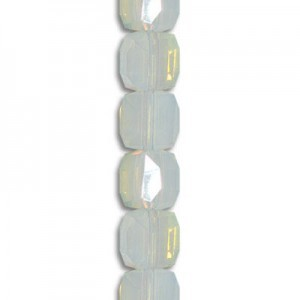 4mm White Opal Cube Celebrity Crystals - 7 Inch Strand (Apx 44 Beads)