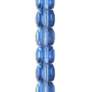 4mm Lt Sapphire Cube Celebrity Crystals - 7 Inch Strand (Apx 44 Beads)