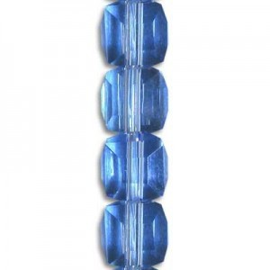 6mm Lt Sapphire Cube Celebrity Crystals - 7 Inch Strand (Apx 30 Beads)