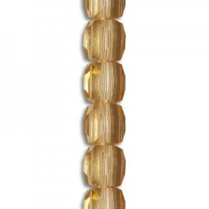 4mm Peach Cube Celebrity Crystals - 7 Inch Strand (Apx 44 Beads)