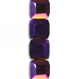 6mm Purple Iris Cube Celebrity Crystals - 7 Inch Strand (Apx 30 Beads)