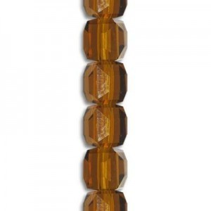 4mm Smoke Topaz Cube Celebrity Crystals - 7 Inch Strand (Apx 44 Beads)