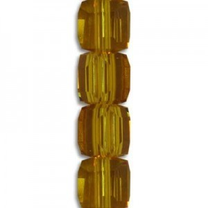6mm Topaz Cube Celebrity Crystals - 7 Inch Strand (Apx 30 Beads)