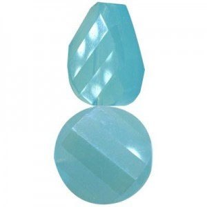 18mm Aqua Opal Twist Coin Celebrity Crystals - 7 Inch Strand (Apx 10 Beads)