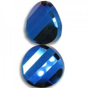 18mm Blue Iris Twist Coin Celebrity Crystals - 7 Inch Strand (Apx 10 Beads)