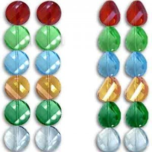 18mm Lollipop Mix Twist Coin Celebrity Crystals - 7 Inch Strand (Apx 10 Beads)