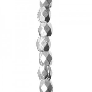 3mm Faceted Barrel Bead Bright Silver 7 Inch Strand (Apx 57 Beads)