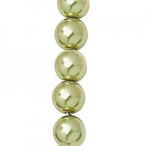 8mm Olivine Smooth Round Czech Glass Pearls 7 Inch Strand (Apx 22 Beads)