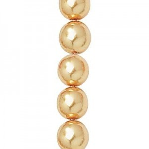 6mm Gold Smooth Round Czech Glass Pearls 7 Inch Strand (Apx 29 Beads)