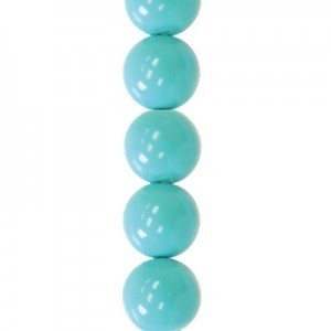 10mm Turquoise Smooth Round Czech Glass Pearls 7 Inch Strand (Apx 18 Beads)