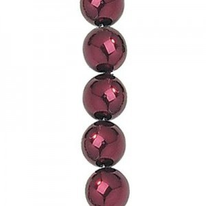 4mm Burgundy Smooth Round Czech Glass Pearls 7 Inch Strand (Apx 44 Beads)