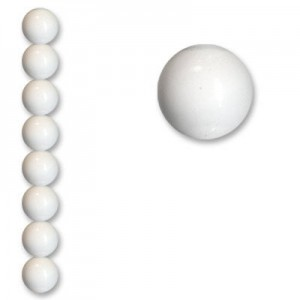 12mm Smooth Round Acrylic Bead White Opaque Polished 7 Inch Strand (Apx 15 Beads)