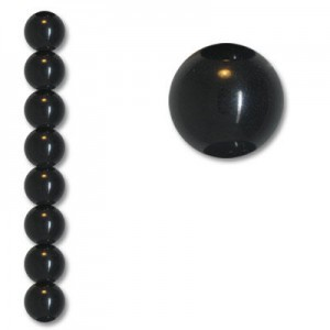 14mm Smooth Round Acrylic Bead Black Opaque Polished 7 Inch Strand (Apx 13 Beads)