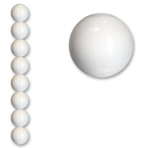 20mm Smooth Round Acrylic Bead White Opaque Polished 7 Inch Strand (Apx 9 Beads)