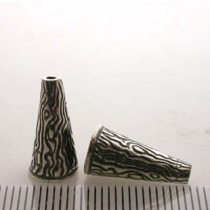 16x8mm Cone W/ Pattern Pewter W/ Ant Silver Finish 4pcs