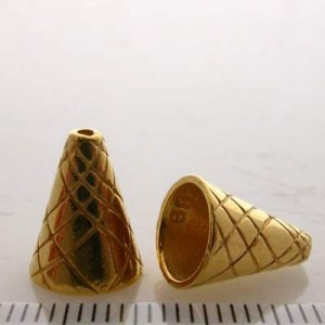 12x9mm Cone W/ Straight Lines Pattern Pewter W/ Gold Plate Finish 4pcs