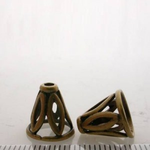 11x12mm Cone W/ Navettes Design Pewter W/ Ant Brass Finish 4pcs