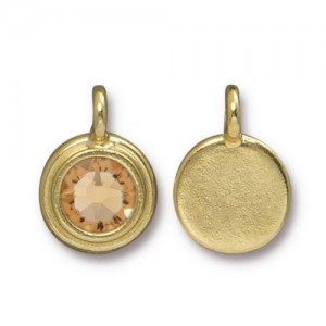 Charm Ss34 Stepped Bezel with Lt Co Topaz - Pkg of 10 TierraCast® Bright Gold