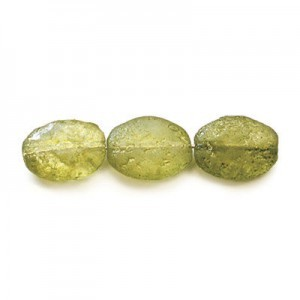 12x9mm Pearlized Olive Ice Smooth Czech Glass Flat Oval (300pc)