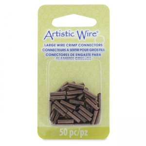 Artistic Wire® Large Wire Crimp Tubes 10mm (.4in) Antique Copper Color for 14 ga wire ID 2.0mm (.078in) 50pc
