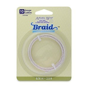 Artistic Wire® 10 Gauge (2.6mm) Braid Round Tarnish Resistant Silver 2.5ft (.76m)