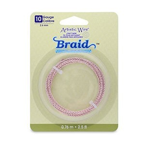 Artistic Wire® 10 Gauge (2.6mm) Braid Round Rose Gold Color 2.5ft (.76m)
