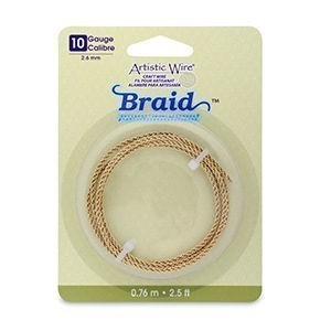 Artistic Wire® 10 Gauge (2.6mm) Braid Round Tarnish Resistant Brass 2.5ft (.76m)