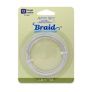 Artistic Wire® 12 Gauge (2.1mm) Braid Round Tarnish Resistant Silver 5ft (1.5m)
